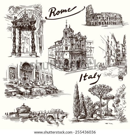 Rome - hand drawn collection - stock vector