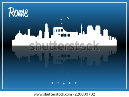 Rome skyline silhouette vector design on parliament blue and black background. - stock vector