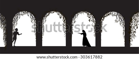 romeo and juliet shakespeare`s play, date, silhouette, love story, vector - stock vector