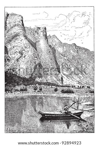 Romsdal valley of the Rauma, vintage engraved illustration. Dictionary of words and things - Larive and Fleury - 1895.