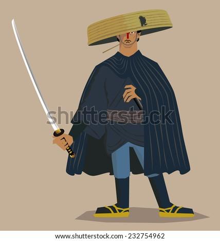 Ronin/Masterless samurai - stock vector