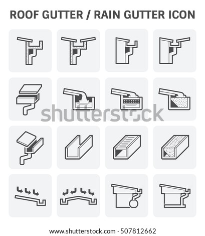 Exceptional Roof Gutter Or Rain Gutter For Drainage System Vector Icon Set Design.