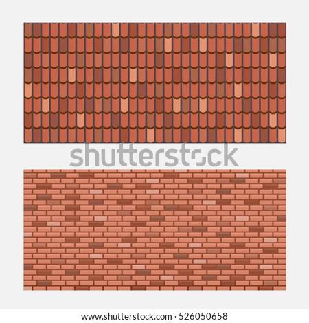 Roof Tiles Brick Wall Texture Vector Stock Vector