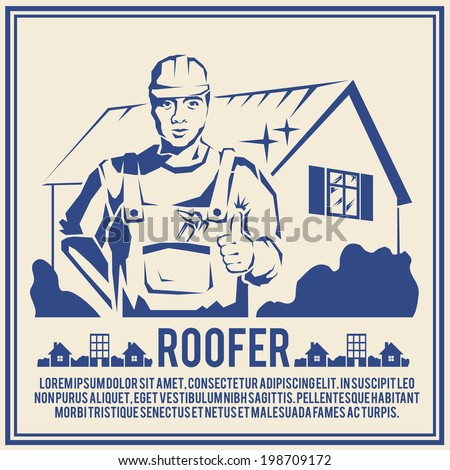 Roofer house builder male tradesman worker silhouette poster vector illustration - stock vector