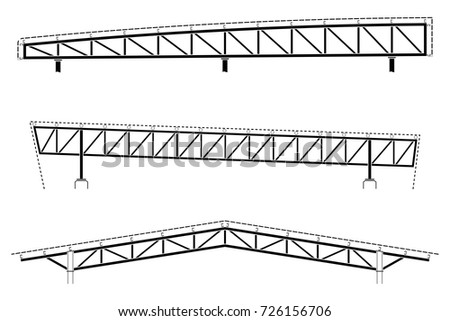 Roofing building, steel frame detail, roof truss set, vector illustration