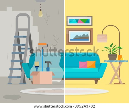 Room before and after repair. Home interior renovation. Flat style vector illustration. - stock vector