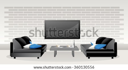 Room for enjoyment - Illustration Vector illustrated room with two seats, table and big television screen on the brickyard wall  - stock vector