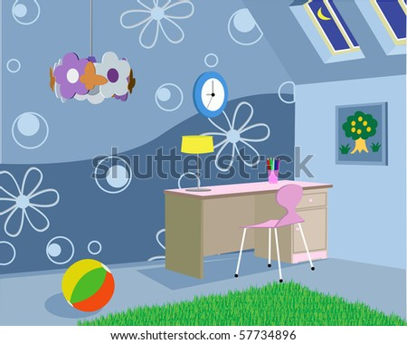 Room for the child in the house - stock vector