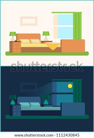 Room Interior Bedroom Set Night Day Stock Vector Royalty Free