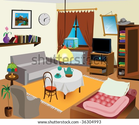 Room interior color illustration. All objects are there. Ideal for visual dictionary. - stock vector