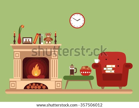 Room interior design with fireplace, chair books, table, clock in evening  tea time. Flat style vector illustration - stock vector