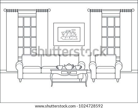 Room Interior Home Flat Design Furniture Stock Vector 1024728592 ...