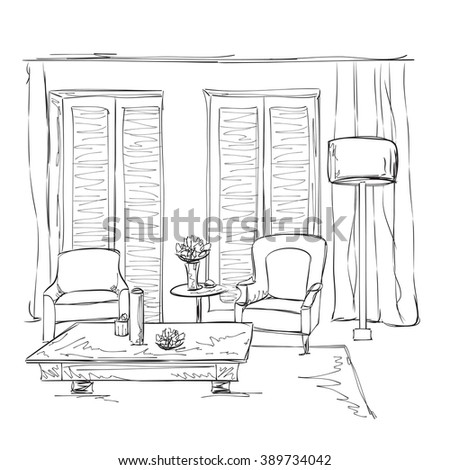 Room interior sketch. Hand drawn chairs