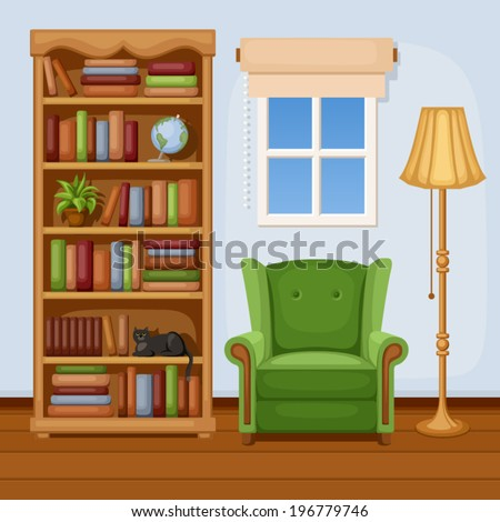 Room interior with bookcase and armchair. Vector illustration. - stock vector