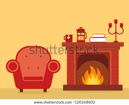 room interior with fireplace and armchair red silhouette on cozy apartment illustration. warm home room interior.
