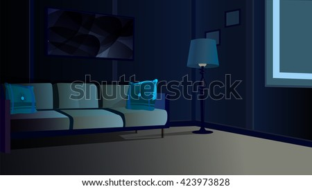 Room Night Window Stock Vector 423973828