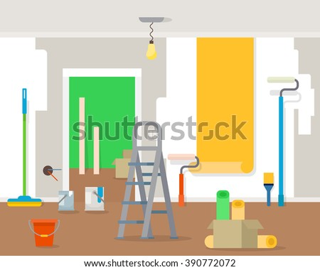 Room repair in home. Interior renovation in apartment and house. Flat style vector illustration. - stock vector