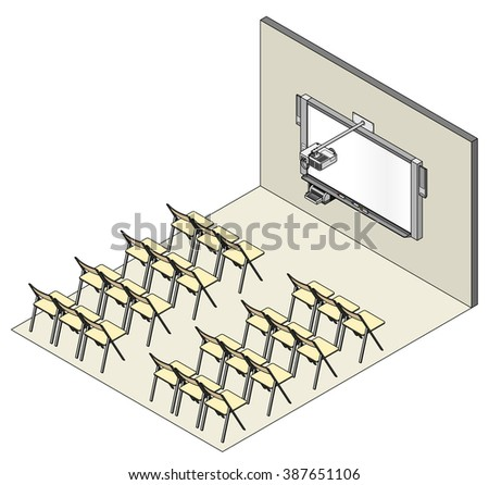 Room setup for a presentation, lecture or seminar. With a wall-mounted electronic printing whiteboard, short throw projector and speakers. - stock vector