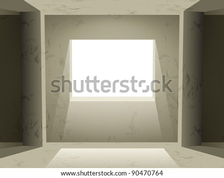 Room with empty walls and light Vector art