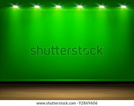 Room with green wall and wooden floor, illuminated by lamps. Part of room set. Vector art. - stock vector