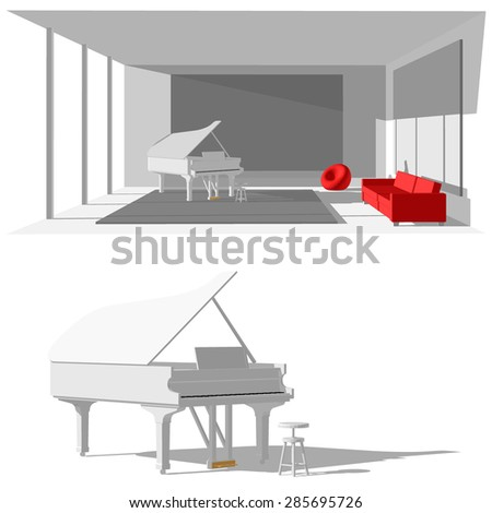 Room with piano and red sofa - stock vector