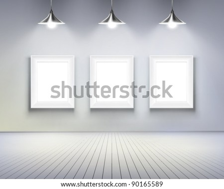 Room with pictures.  Vector illustration. - stock vector
