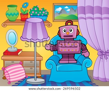 Room with retro robot - eps10 vector illustration.
