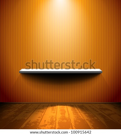 Room with the shelf and wooden floor - stock vector