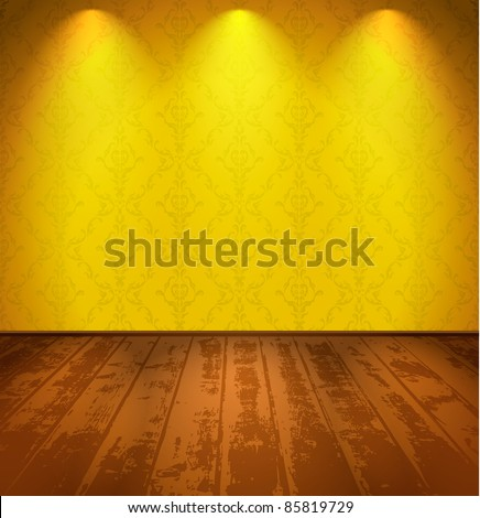 Room with wooden floor and lights