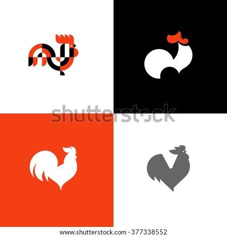 Rooster and cock. Flat design style vector illustrations set of icons and logos - stock vector