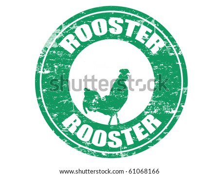 Rooster chinese zodiac sign in grunge rubber stamp