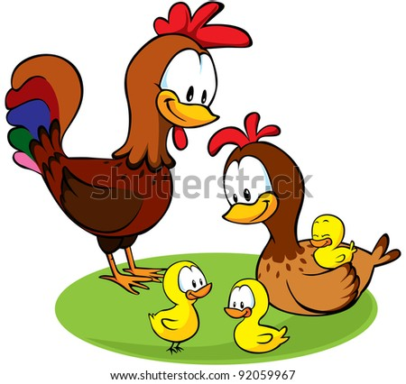 rooster, hen and chickens cartoon - stock vector