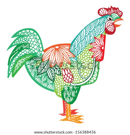 Rooster illustration- Chinese zodiac  - stock vector