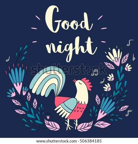 Rooster Flower Wreath Phrase Good Night Stock Vector 506384185