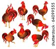 Rooster Set - stock vector
