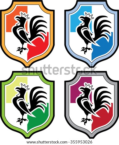 Rooster Shield Logo - stock vector