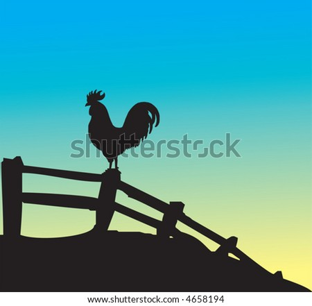 Rooster silhouette on fence - stock vector