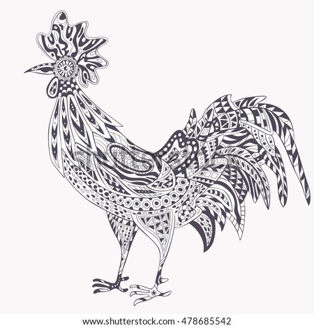 Rooster Zentangle On White Background Logo Stock Vector 478685542 ...