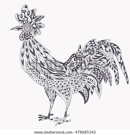rooster zentangle on white background logo stock vector. Black Bedroom Furniture Sets. Home Design Ideas