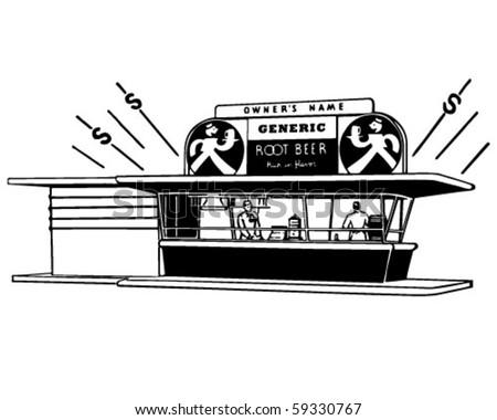 Root Beer Stand - Retro Clip Art - stock vector