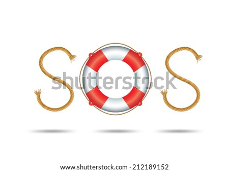 rope and float forming SOS signal - stock vector
