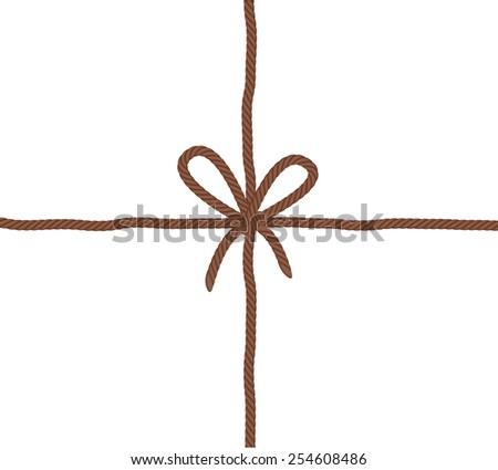 Rope bow knot - crossed threads. Brown color. Include vector brush.