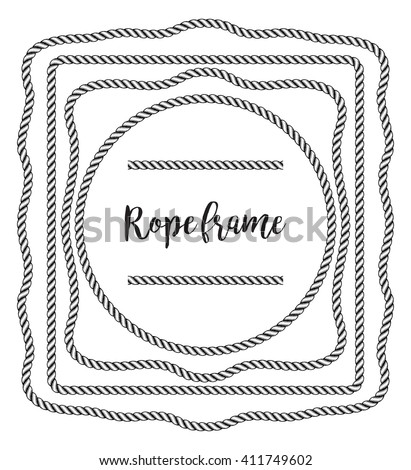 rope frame - stock vector