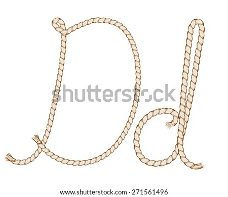 Rope Hand Drawn Alphabet with rope. Letter D. Vector Illustration.