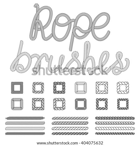 Rope nautical vector pattern brushes set. Rope pattern, nautical rope, design rope set - stock vector
