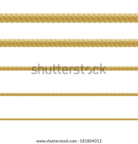 Rope Set, With Gradient Mesh, Vector Illustration