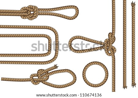 Rope with different knots Part 2 (illustration set seamless vector) - stock vector