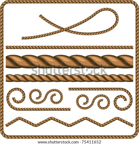 Ropes and knots - stock vector