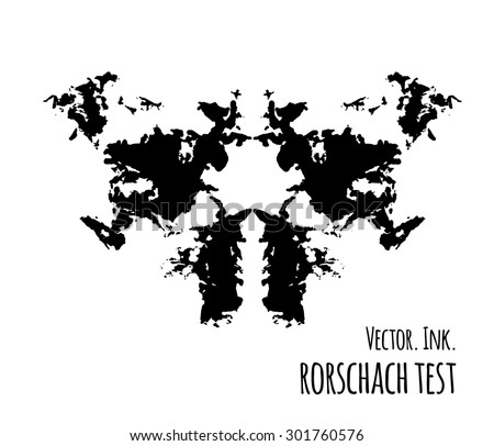 Rorschach inkblot test vector illustration, abstract background. - stock vector