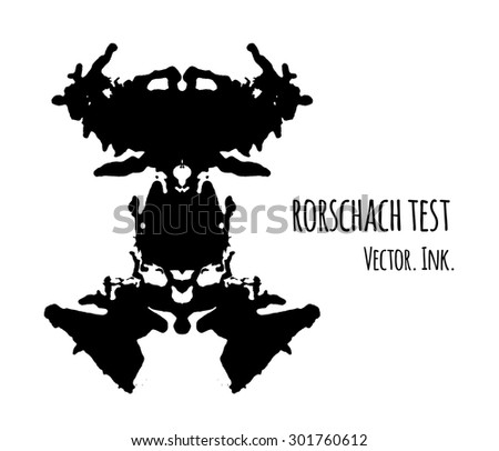 Rorschach inkblot test vector illustration, abstract background. Psychological inkblot  rorschach test image card. - stock vector